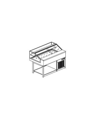 Vetrina calda a secco con vetri dritti bassi - Lunghezza cm 125