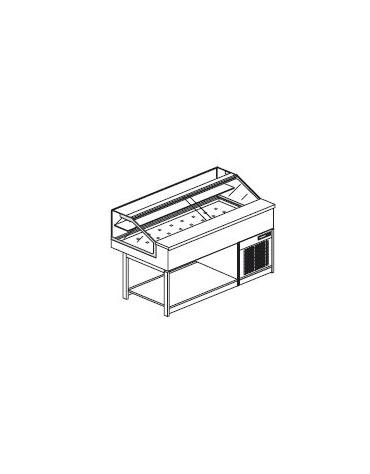 Vetrina calda a secco con vetri dritti bassi - Lunghezza cm 150