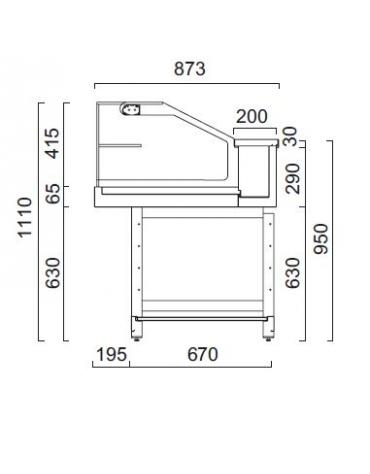 Vetrina calda a secco con vetri dritti bassi - Lunghezza cm 200