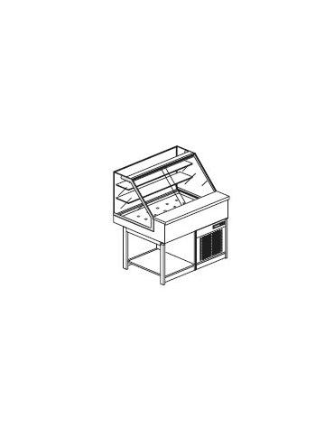 Vetrina calda a secco con vetri dritti alti - Lunghezza cm 100