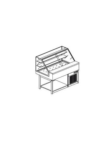 Vetrina calda a secco con vetri dritti alti - Lunghezza cm 125