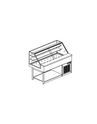 Vetrina calda a secco con vetri dritti alti - Lunghezza cm 150
