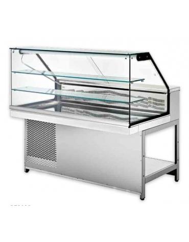 Vetrina calda a secco con vetri dritti alti - Lunghezza cm 200
