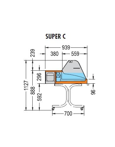 Vetrina espositiva da appoggio Temperatura +2 +4°C Dim mm L1006XP939XH530