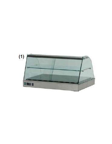 Vetrina calda vetri curvi cm. 140x63x55h
