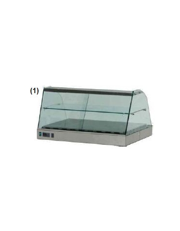 Vetrina calda vetri curvi cm. 168x63x55h