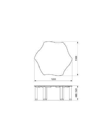 TAVOLO SAGOMATO RETTANGOLARE - 6 POSTI cm. 130 x 65 x 46/52h