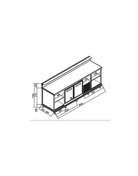 Banco bar refrigerato 2 sportelli motore interno da cm 250 con motore incorporato banchi - Sportelli cucina grezzi ...