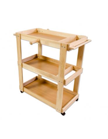 Carrello porta attrezzi di legno massiccio, con maniglia, mobile su ruote,