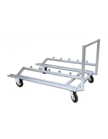 Carrello con telaio di acciaio zincato porta ostacoli - capacità 25 ostacoli - diametro cm 20, 2 fisse e 2 piroettanti