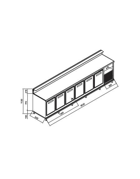 Banco bar refrigerato 6 sportelli motore interno da cm 350 con motore incorporato banchi - Sportelli cucina grezzi ...