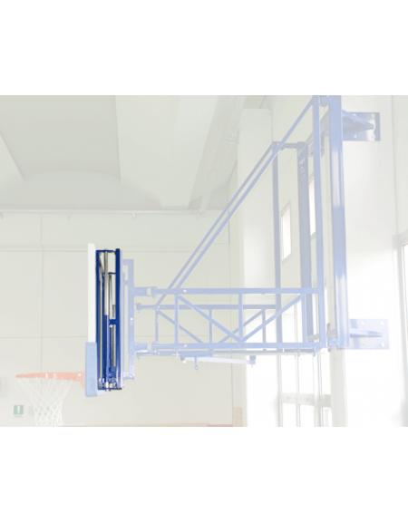 Coppia dispositivi meccanici per regolazione in altezza di tabellone e canestro negli impianti basket