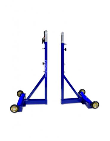 Coppia pali per badminton, soluzione professionale, in acciaio verniciato,  regolabili in altezza
