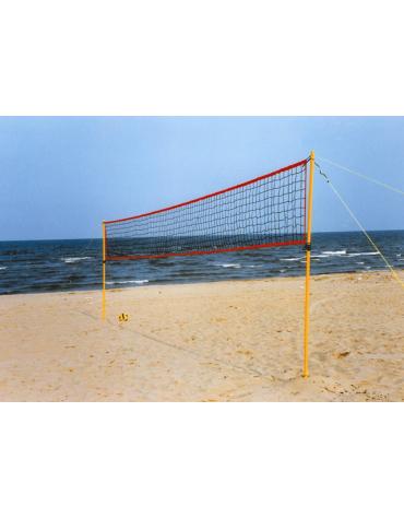 Set beach volley per uso ricreativo costituito di pali componibili con tiranti e rete