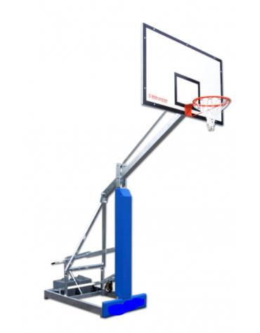 Struttura streetball Easyplay College in acciaio zincato mobile su ruote, sbalzo cm 125