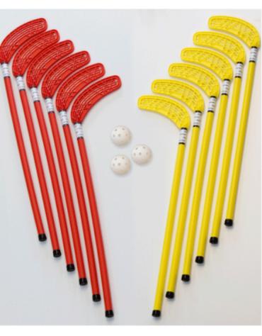 Set unihockey composto di 6 + 6 bastoni e 3 palline