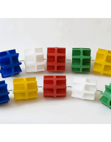 Corsia frangionda galleggiante con elementi in polipropilene colorato, diametro mm 110
