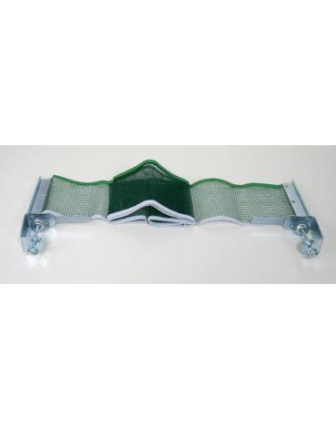 Coppia di sostegni metallici con retina in nylon per tavolo tennis