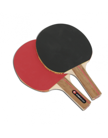 Racchetta con struttura di legno e rivestimento in gomma liscia su ambo i lati per tennis tavolo.