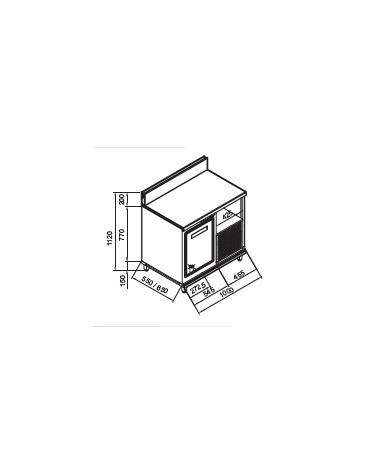 Retrobanco refrigerato 1 sportello motore interno da cm. 100