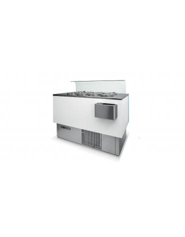 Banco pozzetti gelato o granite con riserva - Refrigerazione ventilata - N° 4+4 Carapine da Lt 7,5