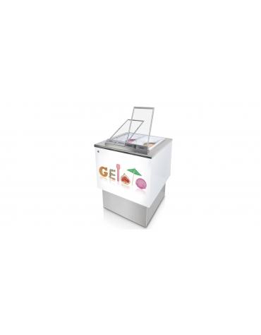 Banco pozzetti gelato o granite senza riserva - Refrigerazione ventilata - N° 4 Carapine da Lt 7,5