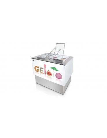 Banco pozzetti gelato o granite senza riserva - Refrigerazione ventilata - N° 6 Carapine da Lt 7,5