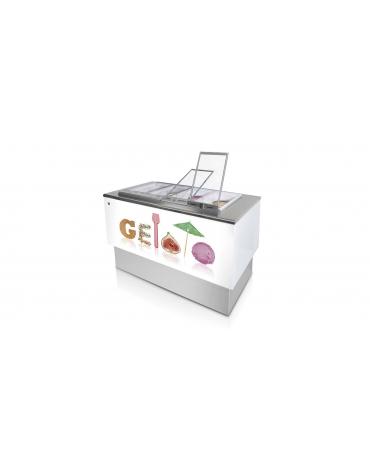 Banco pozzetti gelato o granite senza riserva - Refrigerazione ventilata - N° 8 Carapine da Lt 7,5