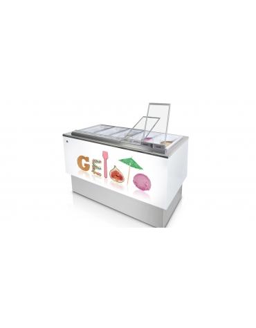 Banco pozzetti gelato o granite senza riserva - Refrigerazione ventilata - N° 10 Carapine da Lt 7,5