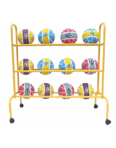 Carrello espositore per palloni in acciaio verniciato mobile su ruote