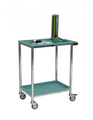 Carrello porta strumenti con struttura di acciaio cromato con maniglione di trasporto