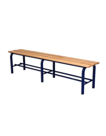 Panchina spogliatoio, in acciaio verniciato e listoni di legno, lunghezza mt 2