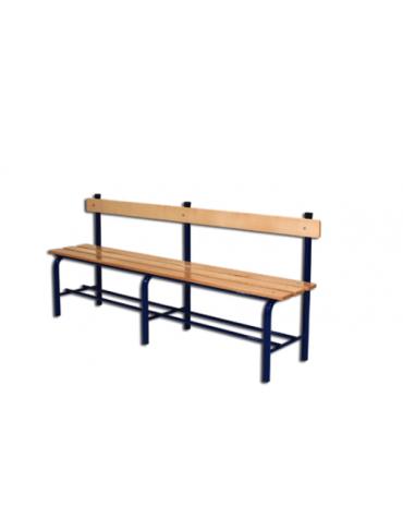 Panchina spogliatoio con schienale, in acciaio verniciato e listonidi legno, L. mt 2