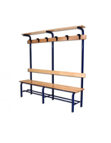 Panchina spogliatoio da mt 2 completa di schienale, Dimensioni cm 200x40x185.