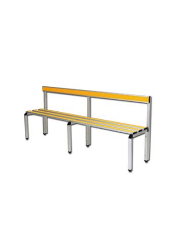 Panchina spogliatoio con schienale, in alluminio anodizzato, lunghezza mt 2
