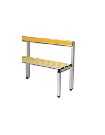 Panchina spogliatoio con schienale, in alluminio anodizzato, lunghezza mt 1