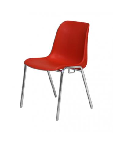 Sedia con scocca di polipropilene colorato e struttura di acciaio cromato