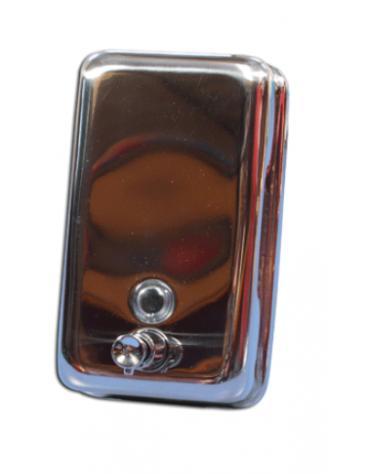 Distributore di sapone liquido di acciaio da fissare a parete. Finestrella di controllo. Erogazione a pulsante