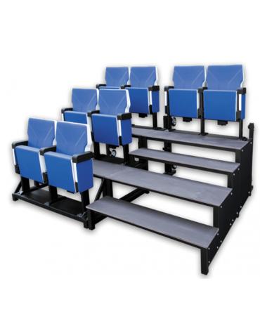 Tribuna VIP componibile e trasportabile realizzabile mediante affiancamento di moduli seduta e moduli scala