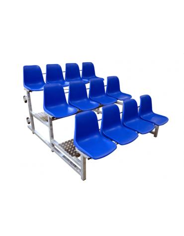 Modulo tribuna da mt 2 a 3 file di seduta con 12 scocche di polipropilene colorato