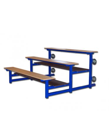 Modulo tribuna da mt 2 a 3 file di seduta a pannelli di legno su struttura in acciaio verniciato