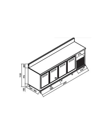 Retrobanco refrigerato 4 sportelli motore interno da cm 250