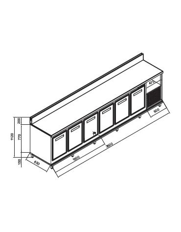 Retrobanco refrigerato 6 sportelli motore interno da cm. 350