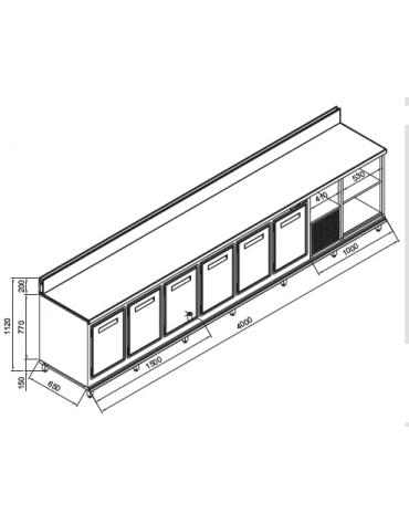 Retrobanco refrigerato 6 sportelli motore interno da cm. 400