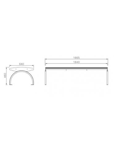 Panchina in acciaio inox con schienale - Lunghezza cm 167,5