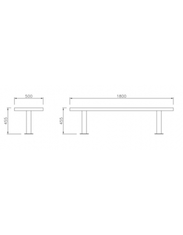 Panchina in acciaio inox e legno con schienale - Lunghezza cm 180