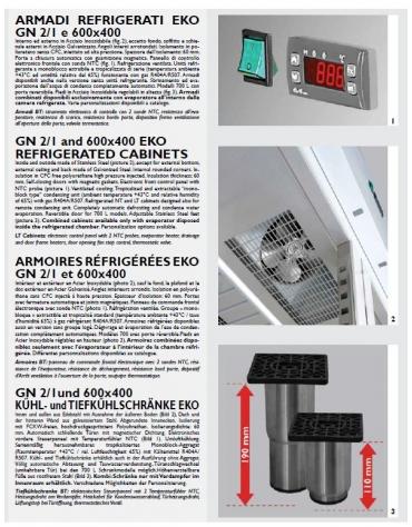 Armadio Refrigerato congelatore Lt 1.400 GN 2/1 in Acciaio Inox a bassa temperatura con 2 porte - cm 142x80x203h