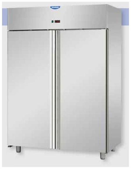 Armadio frigorifero professionale Lt 1.400 GN 21 monoblocco in Acciaio Inox a temperatura normale con 2 porte cm 142x80x203h