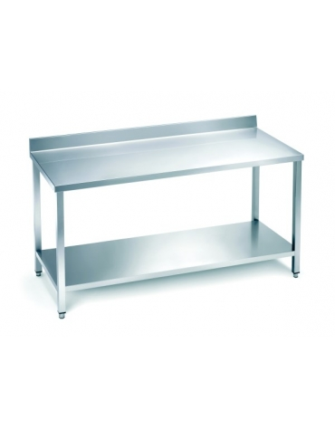Tavolo in acciaio inox con alzatina e ripiano cm.140x60x85/90h