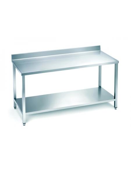 Tavolo in acciaio inox con alzatina e ripiano con ripiano di fondo piano di - Alzatina cucina acciaio ...
